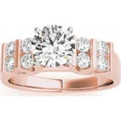 Diamond Chanel Set Antique Engagement Ring 18k Rose Gold (0.48ct)